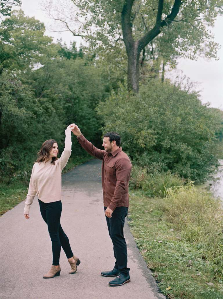 engagement session at graue mill in oak brook illinois by chicago wedding photographer rebecca borg photography