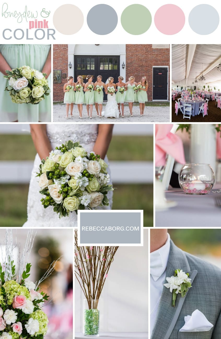 Green Pink Wedding Grey And Off White Palette For Colors In The Summer